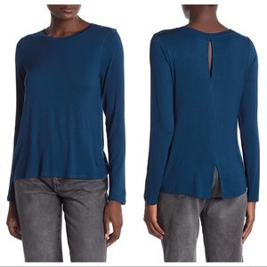 NWT Halogen Back Vent Long Sleeve Tee Blue Aurora